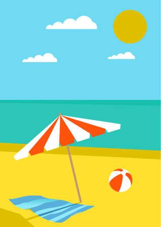 journal: summer posters with beach,ball,umbrella,sea and sun. Journal card.
