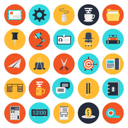 Modern flat icons collection of business elements, office equipment and marketing items. Isolated on white background. Illustration