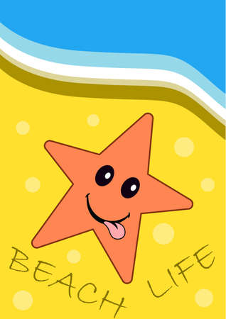 sea star: summer poster of sea star on yellow sand on the beach. Journal card.