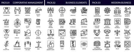corporative: Lne web icon set - money, finance, payments,corporative management,modern business,business element.Line Icons.