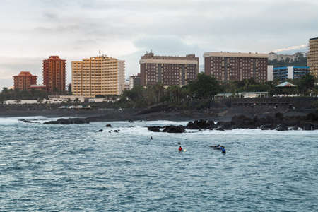 Playa Jardin in the tourist town of Puerto de la Cruz, in the north of Tenerife. Jardin beach with black sands is one of the most famous beaches in Tenerife Island.