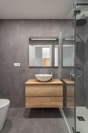 Modern refurbished bathroom in minimalistic style