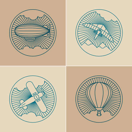 deltaplane: Set of round logo icons. Air transport and flying. Zeppelin, deltaplane, biplane and hot air balloon in the clouds and sunshine.