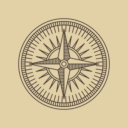 Round Linear Vintage Compass Logo Outline Monochrome Stamp Navigation Brand Design Vector