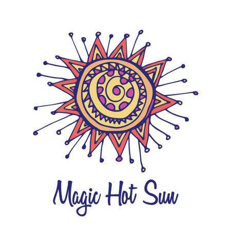 full color: Sun star logo. Hand drawn full color brand sign