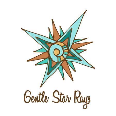 full color: Star logo. Hand drawn full color brand sign Illustration