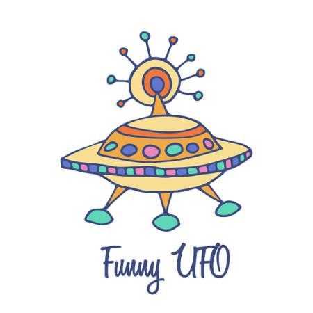 full color: UFO flying sauser logo. Hand drawn full color brand sign Illustration