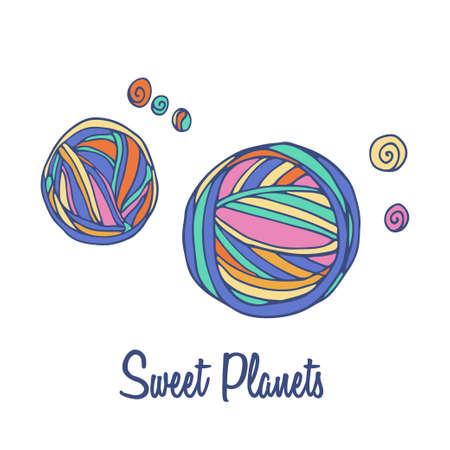 full color: Planets logo. Hand drawn full color brand sign Illustration