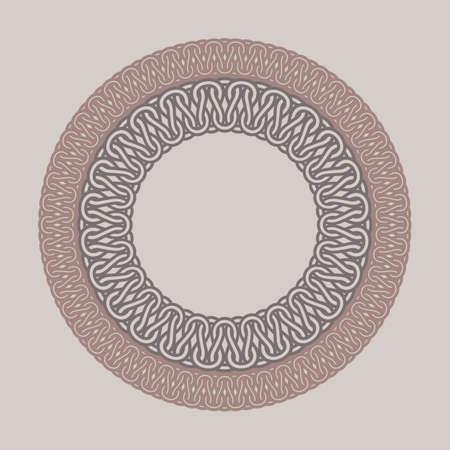 wickerwork: Round vintage frame for logos. Original weaving macrame. Handmade round braiding brand sign. Illustration