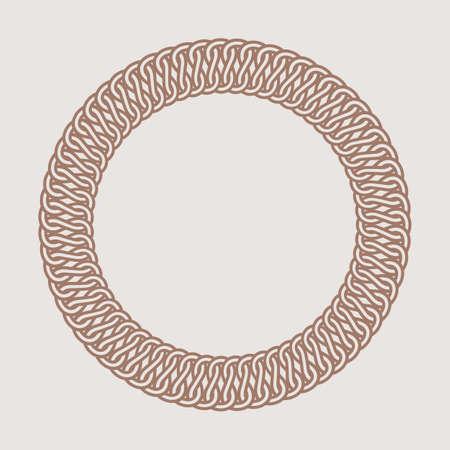 braiding: Round vintage frame for logos. Original weaving macrame. Handmade round braiding brand sign. Illustration