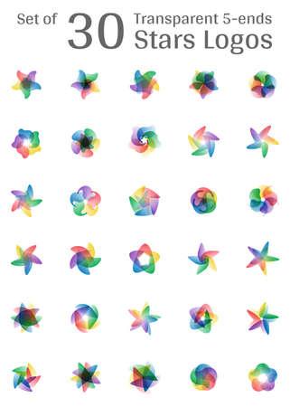 Set of 30 five ends transparent multicolor gradient star logo