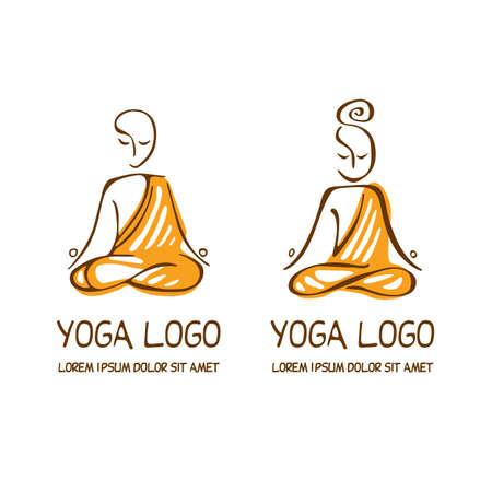 namaste: Hand Drawn Artwork of Lotus Pose Logo Illustration