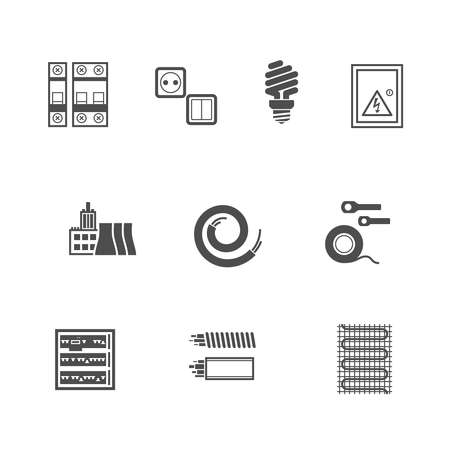 electricity meter: Electrical Equipment Icons Set Pixel Perfect Flat Icons