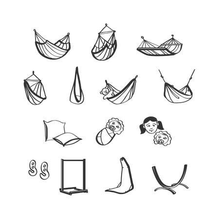 hamaca: Dibujado a mano iconos hamacas, hamacas destaca accesorios
