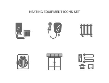 gas boiler: Heating Equipment Icons Set flat icons, perfect pixels Illustration