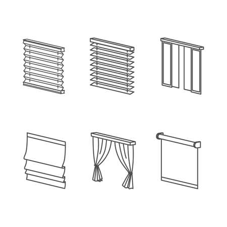 office window view: Types of Curtains Clear Outline Icons Set Illustration