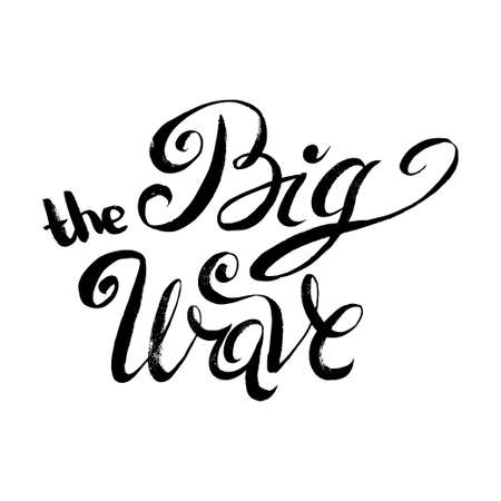 white wave: The Big Wave. T-shirt black and white print grunge lettering Illustration