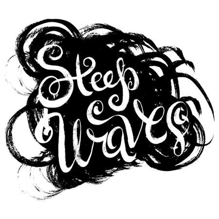 athletic type: Steep Waves. T-shirt black and white print grunge lettering
