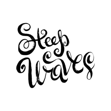 steep: Steep Waves. T-shirt black and white print grunge lettering