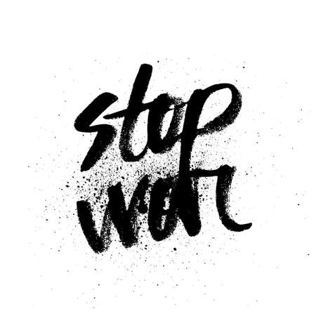 silk screen: Stop war. brush ink lettering for silk screen print