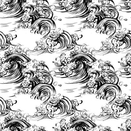 Seamless pattern waves brush ink sketch handdrawn serigraphy print stamp