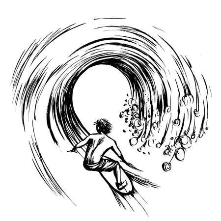 wet shirt: Surfer in wave brush ink sketch handdrawn serigraphy print stamp