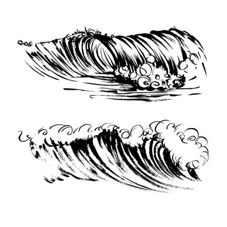 Waves brush ink sketch handdrawn serigraphy print stamp