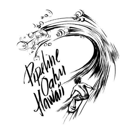 oahu: Pipeline Oahu Hawaii Lettering calligraphy brush ink sketch handdrawn serigraphy print