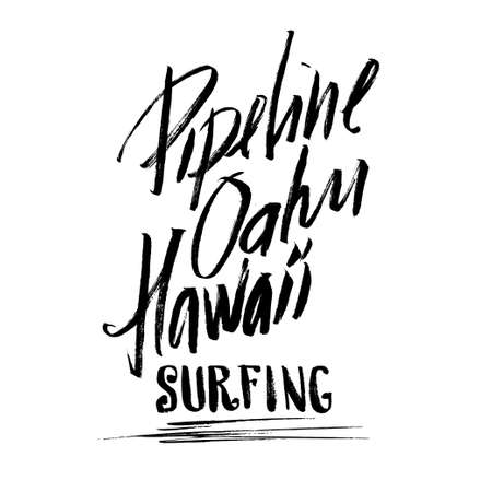 oahu: Pipeline Oahu Hawaii Surfing Lettering calligraphy brush ink sketch handdrawn serigraphy print