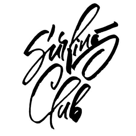 Surfing Club. Modern Calligraphy Hand Lettering for Silk Screen Print