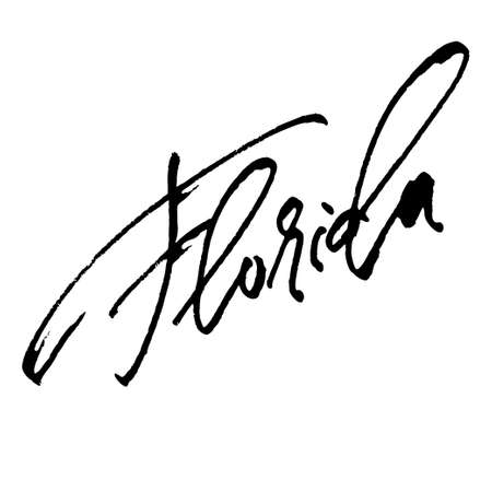 Florida. Modern Calligraphy Hand Lettering for Serigraphy Print
