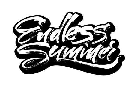 Endless Summer. Modern Calligraphy Hand Lettering for Serigraphy Print Illustration