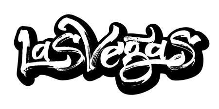 vegas strip: Las Vegas. Sticker. Modern Calligraphy Hand Lettering for Serigraphy Print