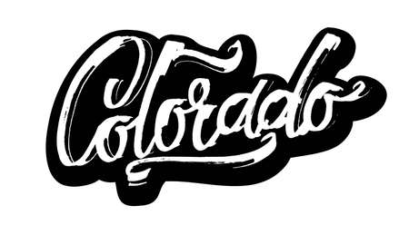 Colorado. Sticker. Modern Calligraphy Hand Lettering for Serigraphy Print
