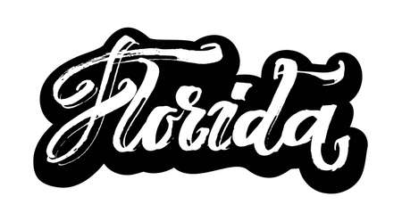 Florida. Sticker. Modern Calligraphy Hand Lettering for Serigraphy Print