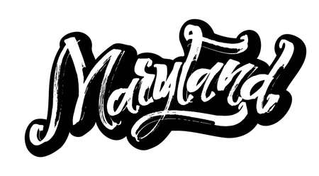 Maryland. Sticker. Modern Calligraphy Hand Lettering for Serigraphy Print