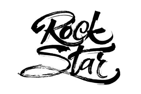 rockabilly: Rock Star. Modern Calligraphy Hand Lettering for Silk Screen Printing