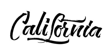 screen printing: California. Modern Calligraphy Hand Lettering for Silk Screen Printing