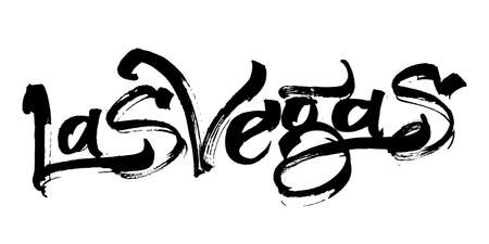 Las Vegas modern Calligraphy Hand Lettering for Silk Screen Printing 일러스트