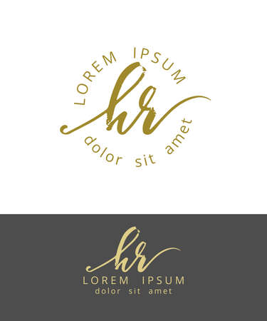 H R Hand drawn Brush Monogram Calligraphy Logo Design Ilustração