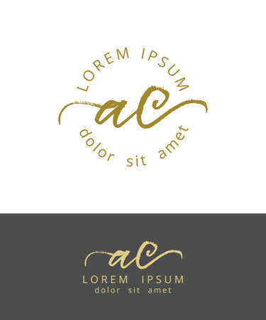 AC Initials Monogram Logo Design. Dry Brush Calligraphy Artwork