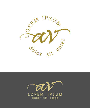 AV Initials Monogram Logo Design. Dry Brush Calligraphy Artwork