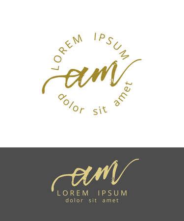 AM Initials Monogram Logo Design. Dry Brush Calligraphy Artwork