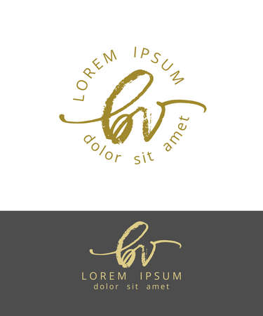 B V Initials Monogram Logo Design. Dry Brush Calligraphy