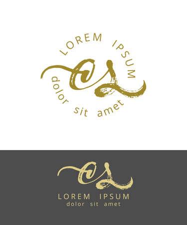 C S Initials Monogram Logo Design. Dry Brush Calligraphy