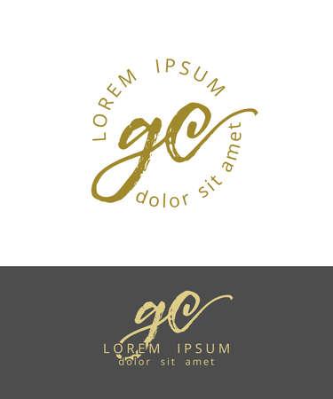 G C Initials Monogram Logo Design. Dry Brush Calligraphy Illustration