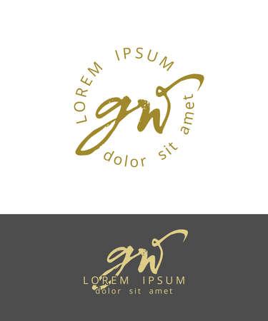 G W Initials Monogram Logo Design. Dry Brush Calligraphy Ilustração