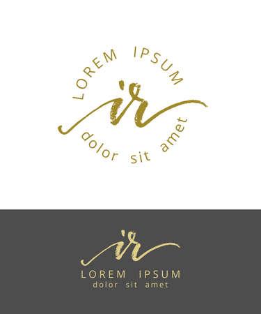 I R Initials Monogram Logo Design. Dry Brush Calligraphy