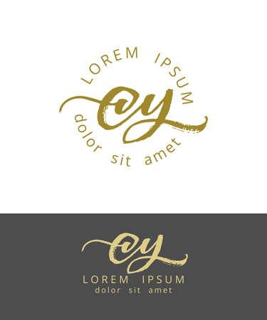 C Y Initials Monogram Logo Design. Dry Brush Calligraphy Vettoriali