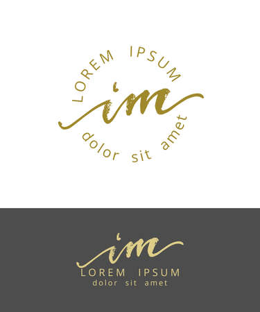 I M Initials Monogram Logo Design. Dry Brush Calligraphy